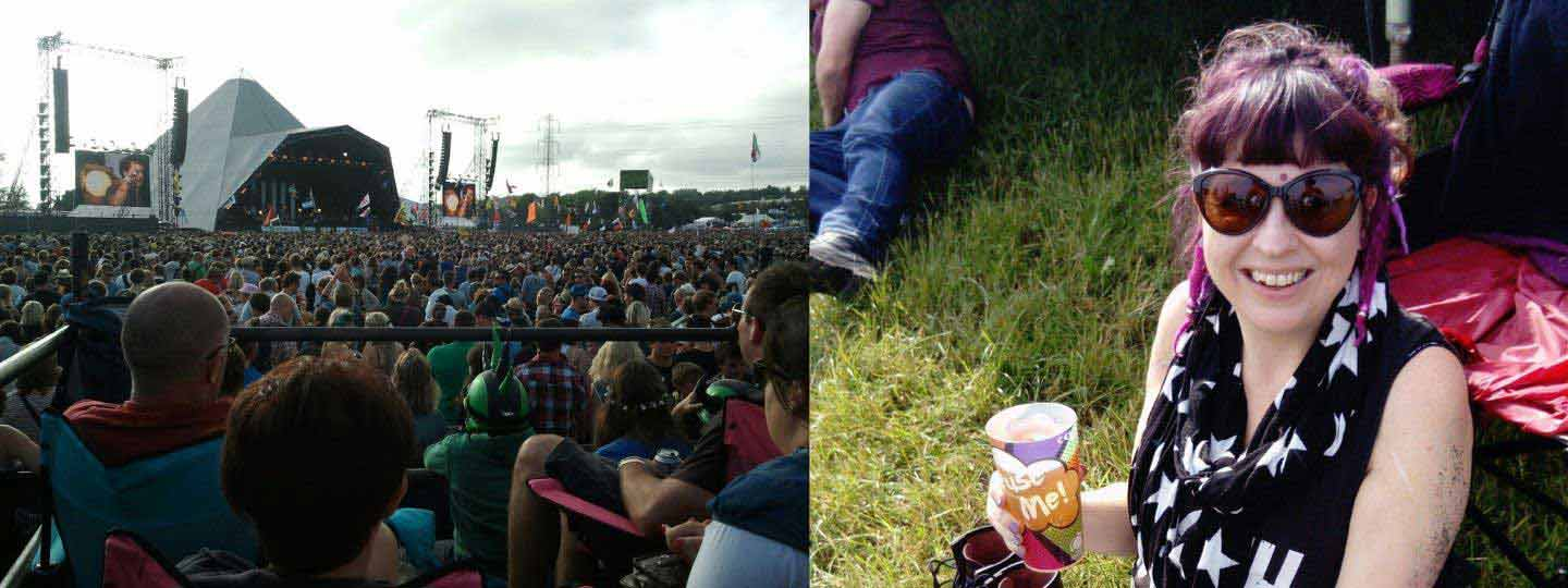 Sally sat on the grass at a music festival.