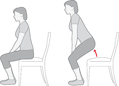 An illustration of someone standing up from a chair without using their hands, which is an exercise for knee pain.