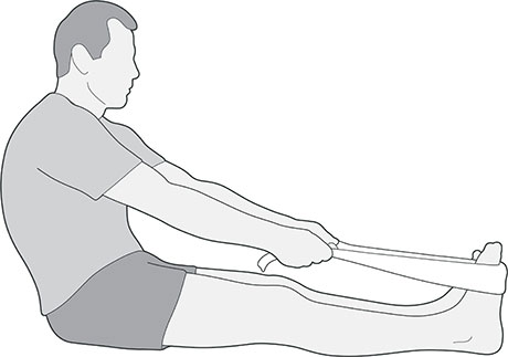 A diagram of someone sat on the floor with a towel looped around their feet pulling their toes towards their body, which is an exercise for foot pain.