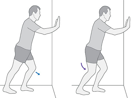 An illustration of someone facing a wall, bending the back knee to stretch out the calf, which is an exercise for foot pain.