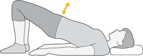 An illustration of someone laying on their back with their feet to standing, lifting their pelvis and lower back off the floor.