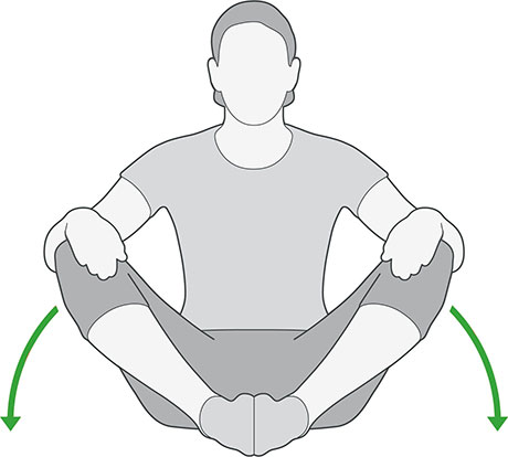 An illustration of someone sitting with their knees bent and feet together, pressing their knees downwards.