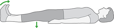An illustration of someone laying down with their legs straight, pulling their toes and ankles towards them whilst pushing their knees to the floor.