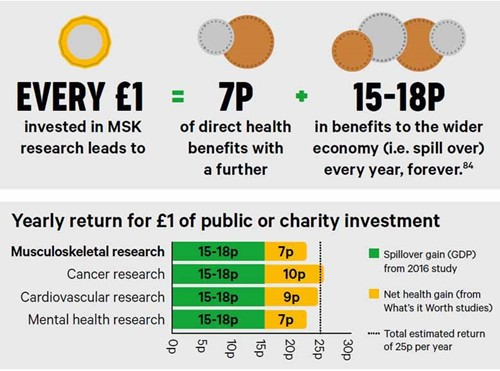 An infographic on the yearly return for £1 of public or charity investment.