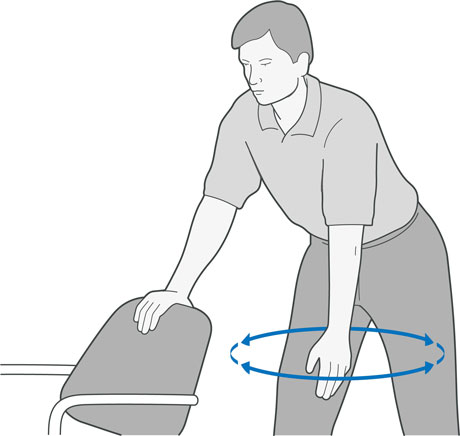 A diagram of someone leaning onto the back of a chair making a circular movement with their arm.