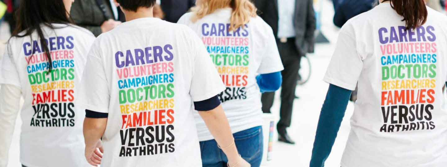 Volunteers with Versus Arthritis t-shirts on.