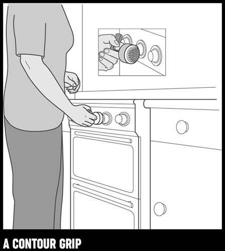 An illustration of a woman using a contour grip to turn a dial on an oven.