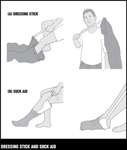 An illustration of a man demonstrating getting dressed using a dressing stick and a sock aid.