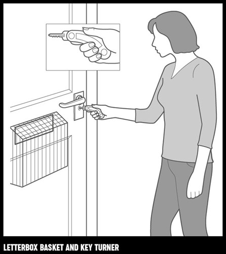 An illustration of a woman using a key turner in a door with a letterbox basket.