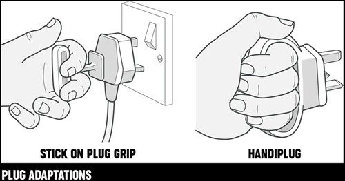 An illustration of two plug adaptations, a stick-on plug grip and a handiplug.