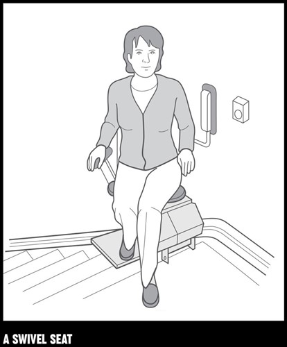 An illustration of a women sitting on a stairleft with a swivel seat.