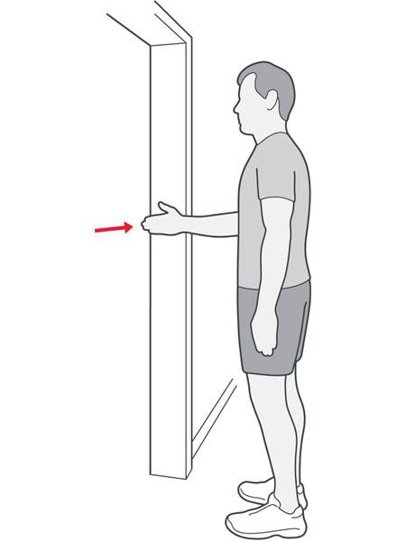 An illustration of someone stood in a doorway pressing the back of their hand into the door frame.