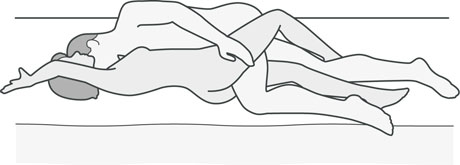 An illustration of a sexual position that's good for men with back problems.
