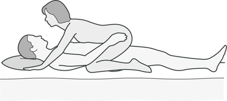 An illustration of a sexual position that's good for men with knee problems.