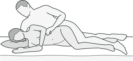 An illustration of a sexual position that's good for women with hip or knee problems.