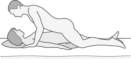 An illustration of a sexual position that's good for women with hip problems.