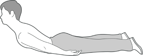 A diagram of somone laying on their front with both arms by their side and their chest lifted off the ground.