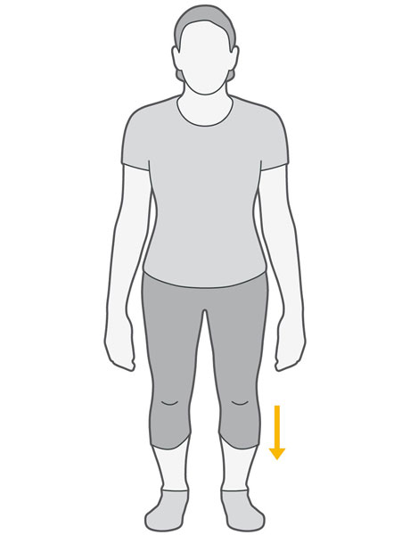An illustration of someone squatting down, bringing their knees towards their toes.