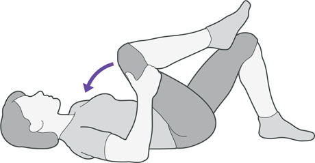 A diagram of someone lying on their back bringing alternative knees to their chest, which is an exercise to help with back pain.