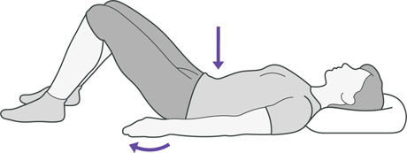A diagram of someone lying down on their back and tightening their stomach muscles, which is an exercise to help with back pain.