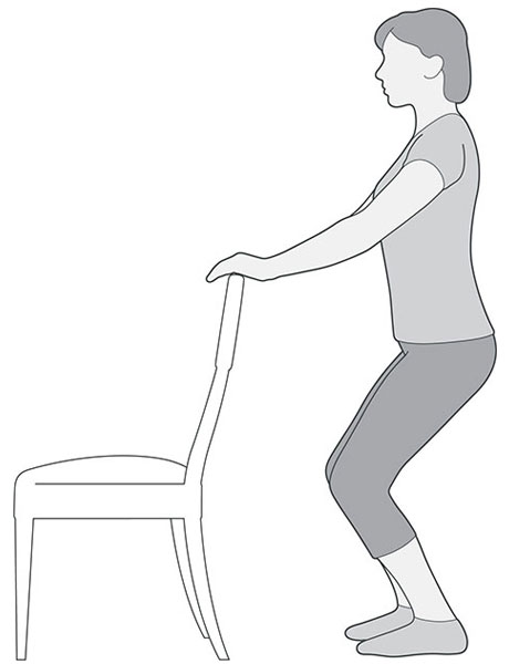 An illustration of someone holding onto the back of a chair to help them squat down, which is an exercise to help with knee pain.