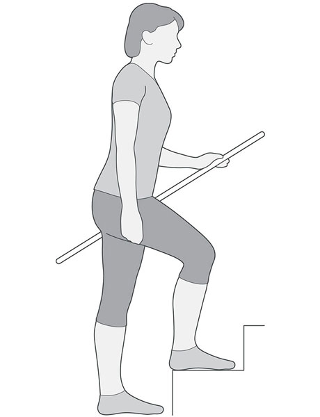 A diagram of someone at the bottom of the stairs with one foot on the next step up doing step up exercises for knee pain.