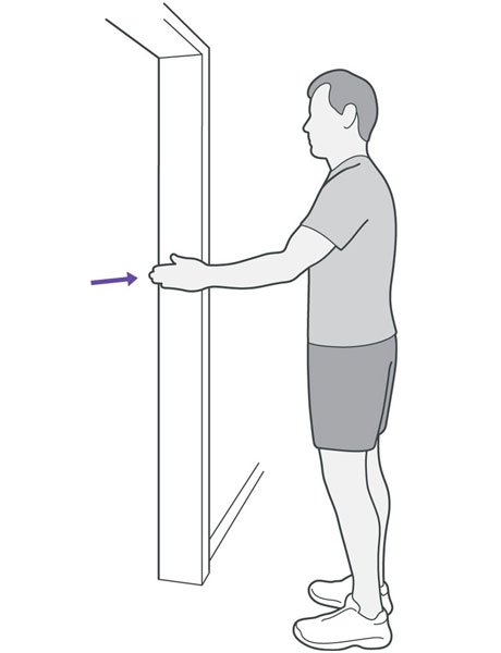 An illustration of someone stood in a doorway pressing the palm of their hand into the door frame.