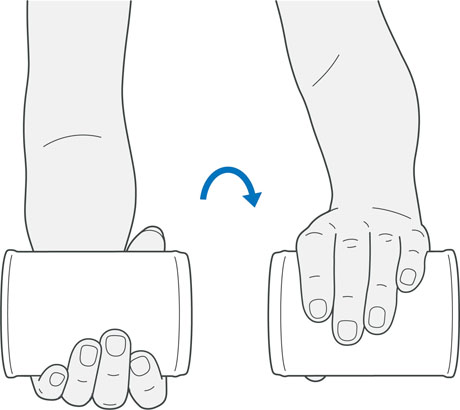 A diagram of someone holding a weight and twisting their wrist, which is an exercise for tennis elbow.