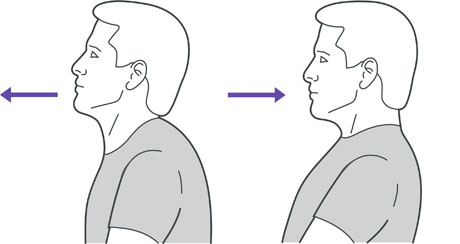 A diagram of someone pushing their chin forward and back to stretch the neck.