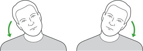 An illustration of someone tilting their head from side to side to exercise the neck.