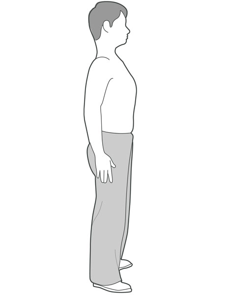 An illustration of someone standing with their back against the wall.