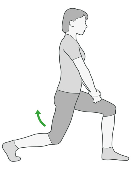 A diagram of someone doing a deep lunge exercise, which is an exercise to help with back pain.