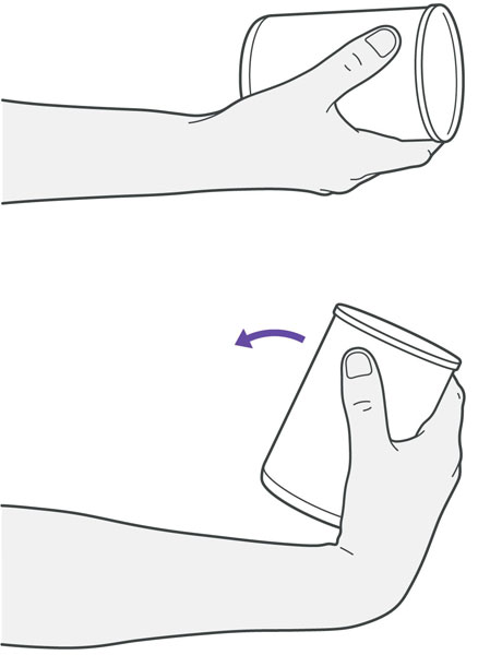 A diagram of someone lifting their wrists towards the body while holding a weight, which is an exercise for tennis elbow.