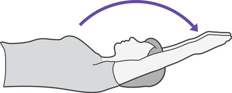 An illustration of someone laying on their back lifting their arms above their head.