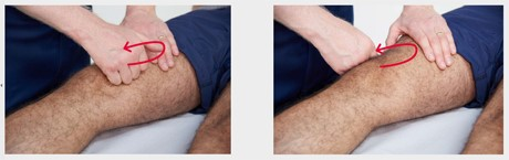 Two images of a doctor examining someones knee joint.