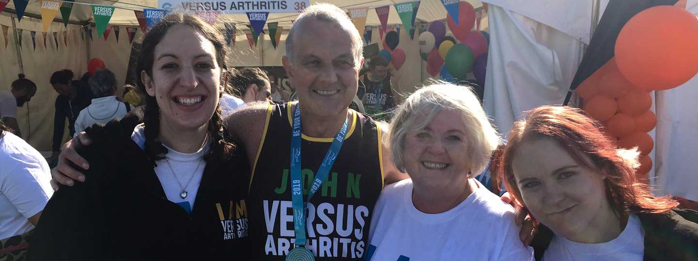 John Issacs with supporters at the Great North Run.