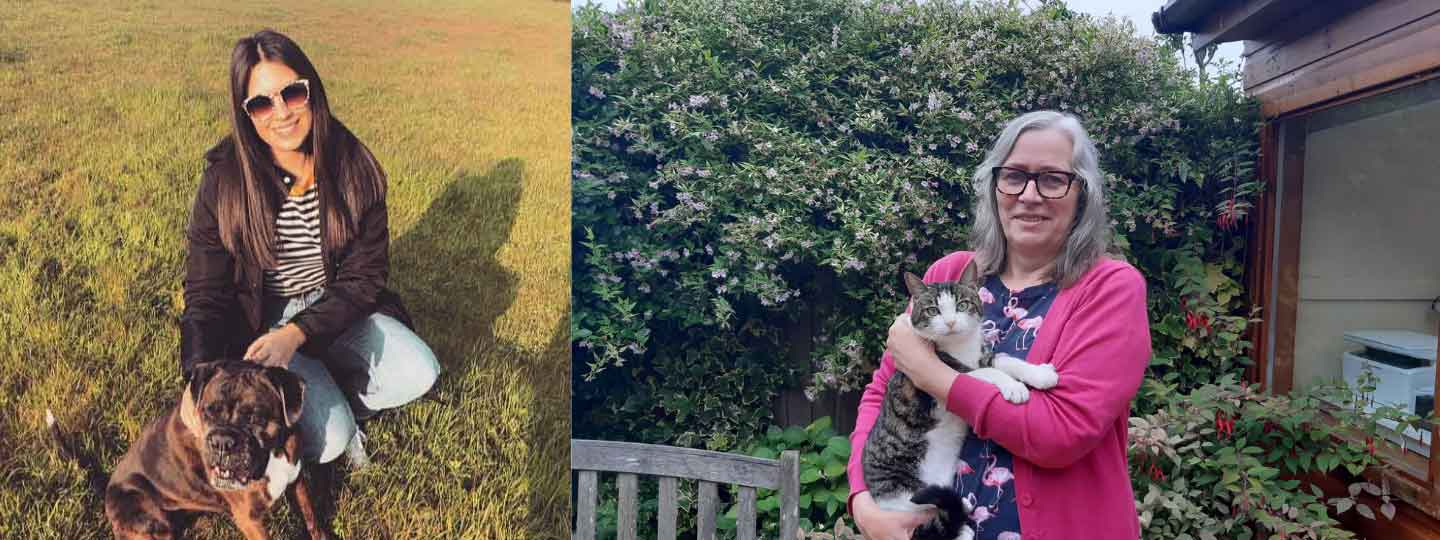 Faye with her dog and Linda with her cat outside.