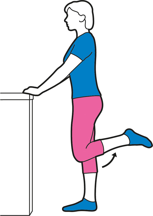 Heel to buttock exercise for the hips.