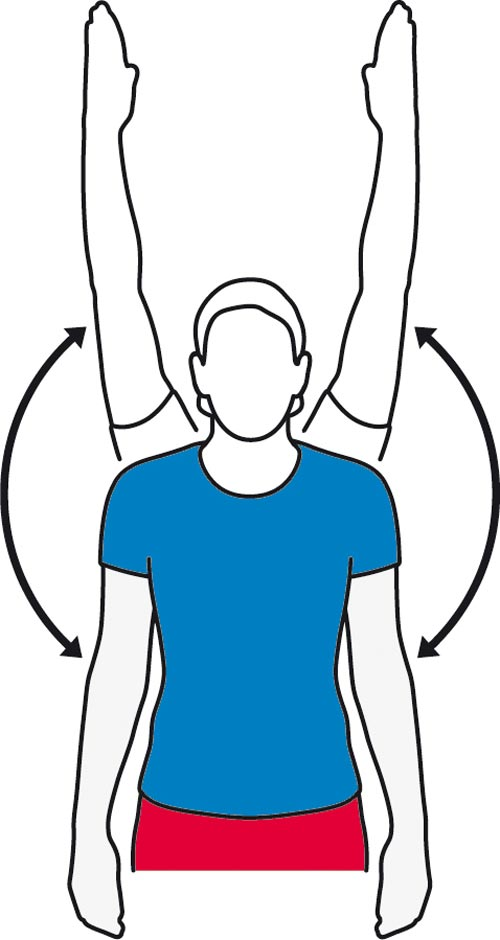 A arm stretch while stood up exercise for the shoulders.