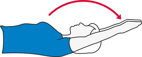An arm stretch while lying down exercise for the shoulders.
