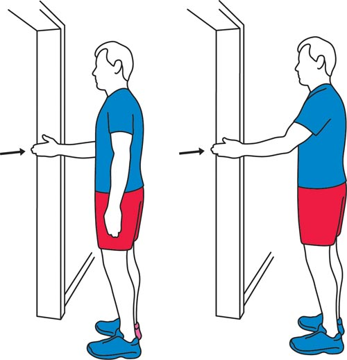 A door press exercise for the shoulders.