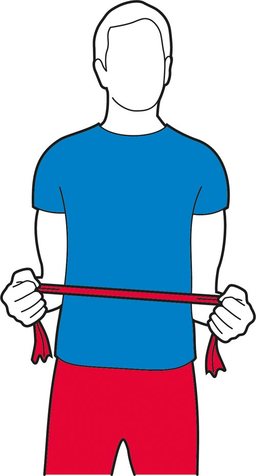 Resistance band exercise for the shoulders.