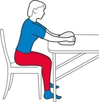 A table slide exercise for the shoulders.