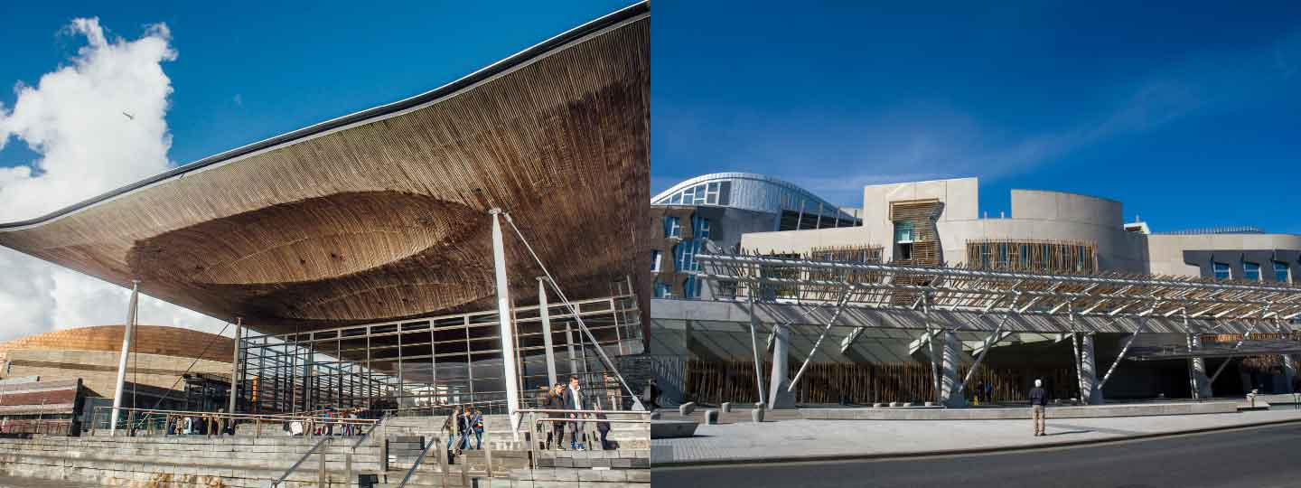 A photo of the Welsh and Scottish parliament buildings.